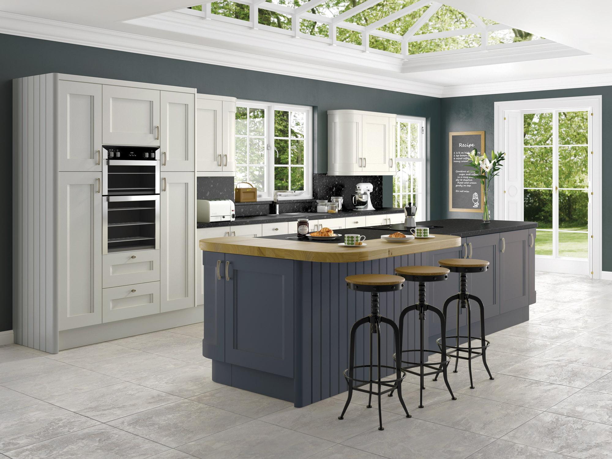 haddington storm grey with anthracite in frame kitchen
