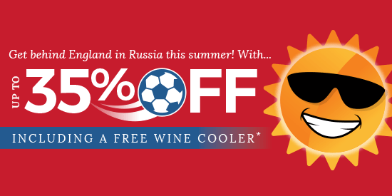 Direct Kitchens football 35% off England free Wine Cooler Sale Offer