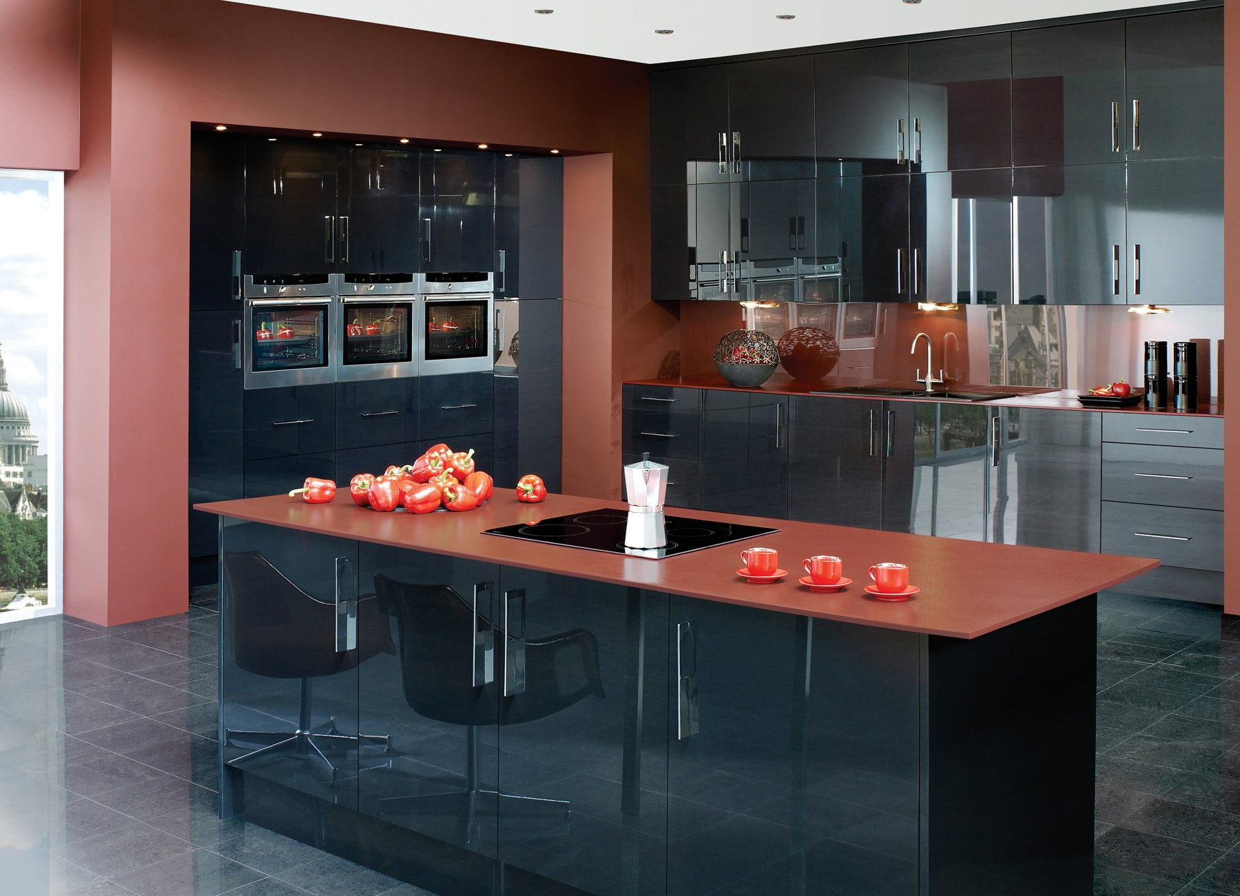 lucido gloss black modern kitchen