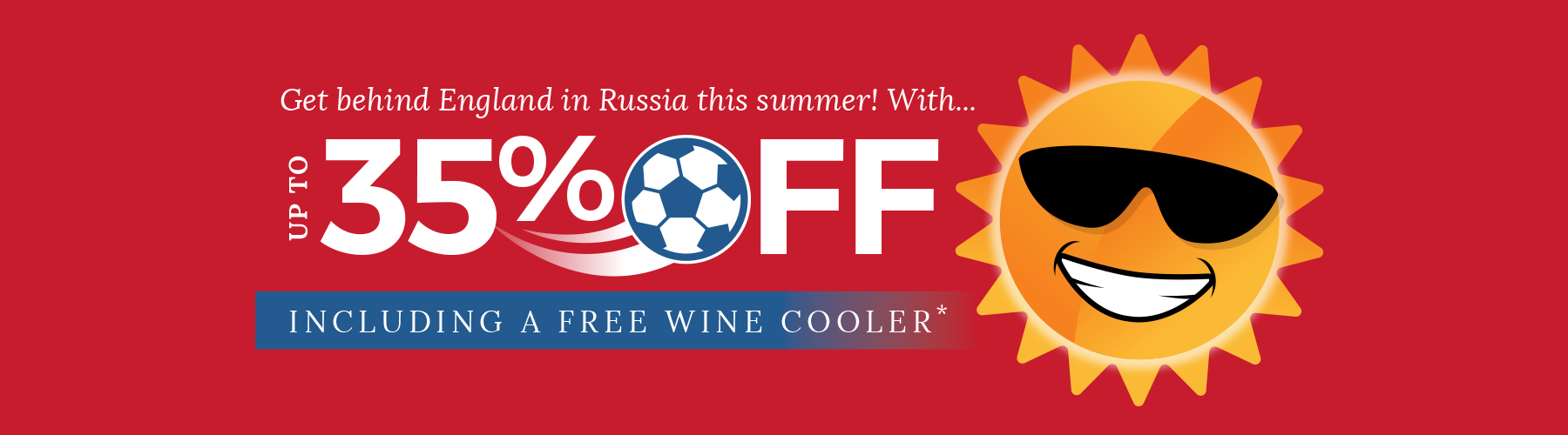 Direct Kitchens England 35% off Sale Offer Football free Wine Cooler