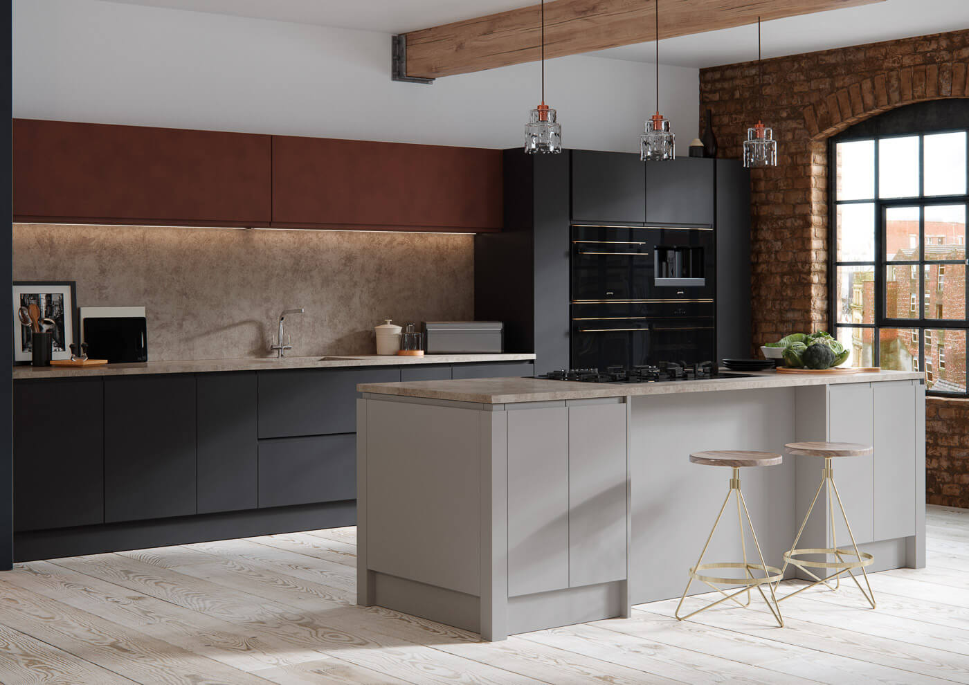 aconbury silver grey and bespoke graphite foundry tarnished copper contemporary kitchen