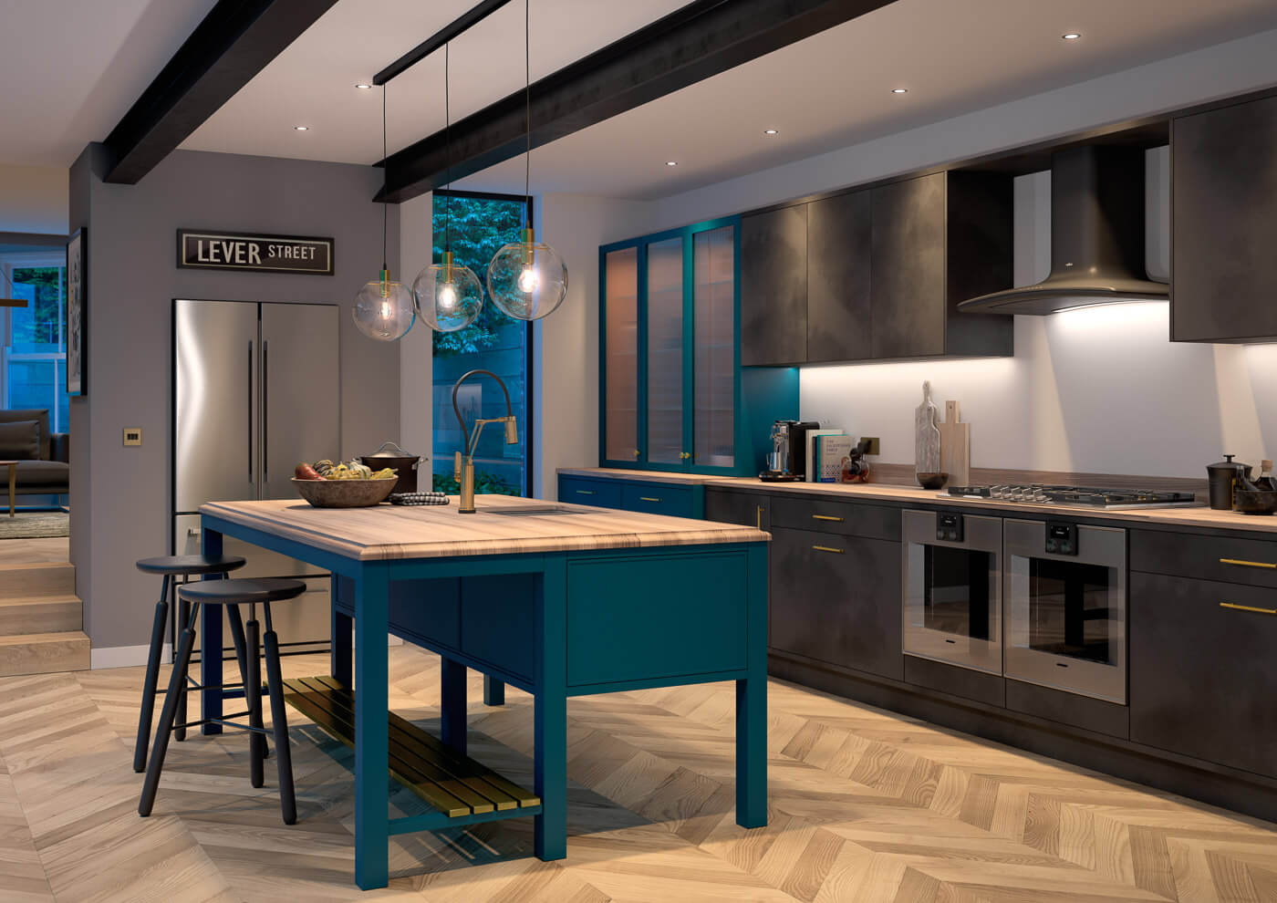 cosdon foundry black steel and torberry paradise blue contemporary kitchen
