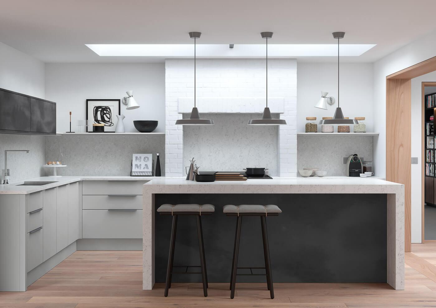 cosdon matt light grey and black steel contemporary kitchen